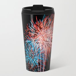 Red White and Blue Fireworks 4th of July Travel Mug