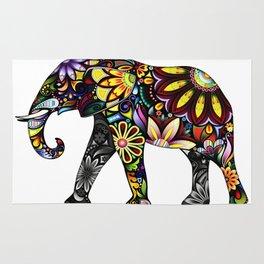 Aztec Elephant White Rug