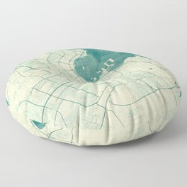 Doha Map Blue Vintage Floor Pillow