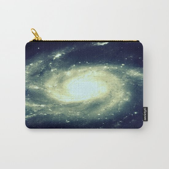 Ivory Teal Pinwheel Spiral Galaxy Space Carry-All Pouch