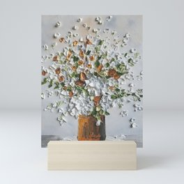 White flowers in Vintage Bucket with Fall colors Mini Art Print