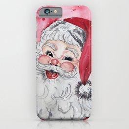 Vintage Santa Face Christmas Watercolor iPhone Case