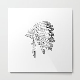 Indian Headdress Black Metal Print