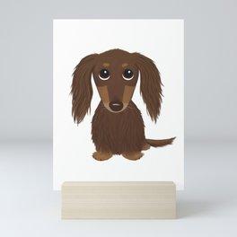 Cute Dog - Longhaired Chocolate Dachshund Cartoon Wiener Dog Mini Art Print