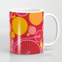 bikes Mugs featuring Bikes by Helene Michau