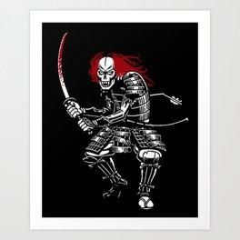 Zombie Samurai (White version) Art Print