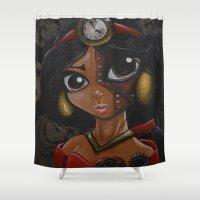 jasmine Shower Curtains featuring Steampunk Jasmine  by Annelies202