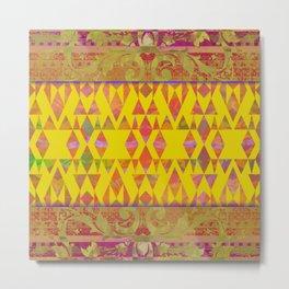 Mustard and Pink Moroccan Boho Metal Print