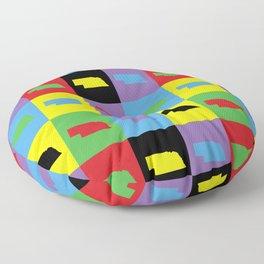 Nebraska Outline State Retro Pop Art Pattern Floor Pillow