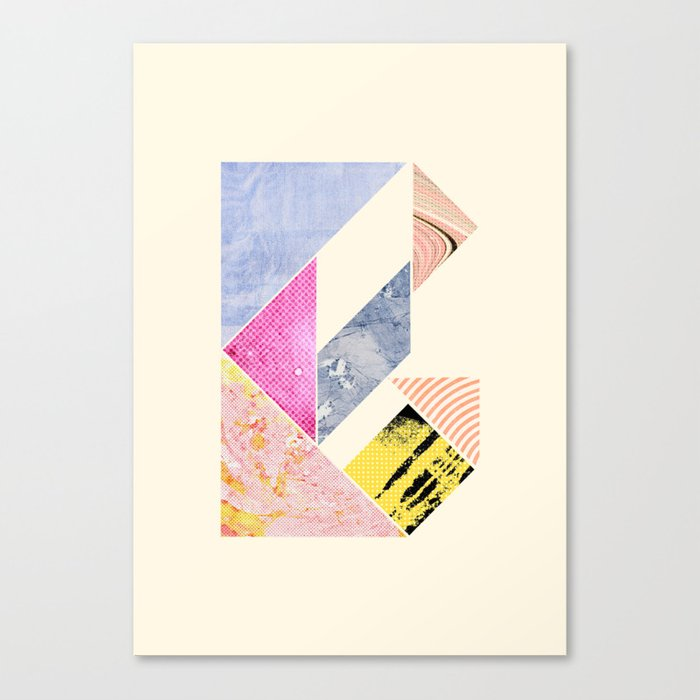 Collaged Tangram Alphabet - B Canvas Print