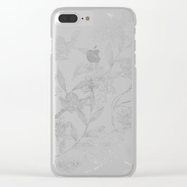 Elegant faux silver modern trendy floral Clear iPhone Case