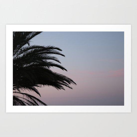 palmtree at sundown, aeolian islands Art Print