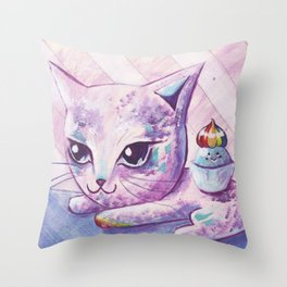Sweet cat Throw Pillow