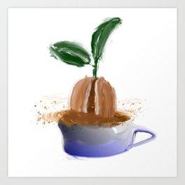coffee bean in coffee cup Art Print