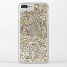 19th Century Topographical Vintage Antique Map Vienna Austria Steampunk Clear iPhone Case