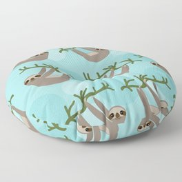 Three-toed sloth on green branch blue background Floor Pillow