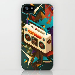 Bust Out The Jams Retro 80s Boombox Splash iPhone Case