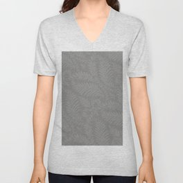 Pantone Pewter Fancy Leaves Scroll Damask Pattern Unisex V-Neck