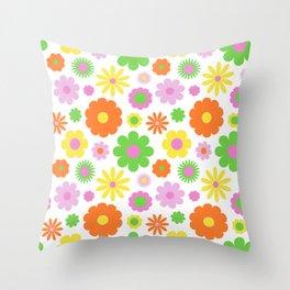 Vintage Daisy Crazy Floral Throw Pillow