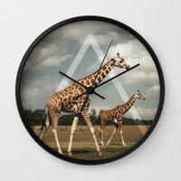 giraffes Wall Clocks featuring Giraffes by Niklas Rosenkilde