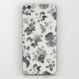 Vintage flowers on cream blackground iPhone Skin