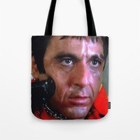 scarface Tote Bags featuring Al Pacino @ Scarface #1 by Gabriel T Toro