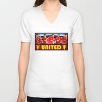 manchester V-neck T-shirts featuring Manchester Football Club by Sport_Designs