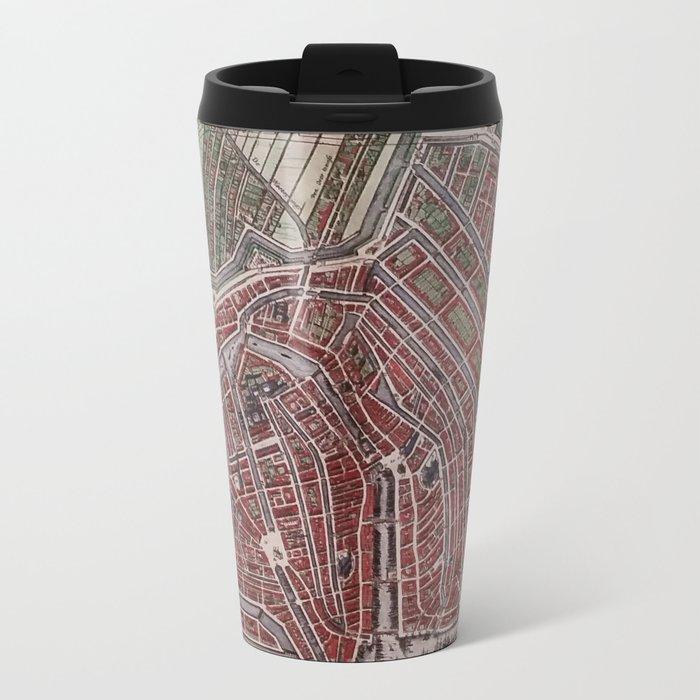 Replica city map of Amsterdam 1652 Metal Travel Mug