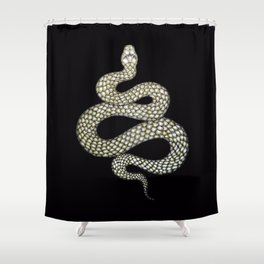 Snake's Charm in Black Shower Curtain
