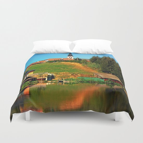 A village in the mirror Duvet Cover