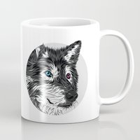wolf Mugs featuring Gray wolf by Roland Banrevi