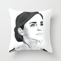 emma watson Throw Pillows featuring Emma Watson by Moira Sweeney