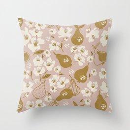 Modern Pear Tree Throw Pillow