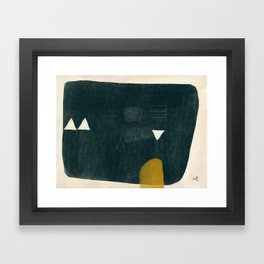 Slate Mono Form with Mustard and Cream Framed Art Print