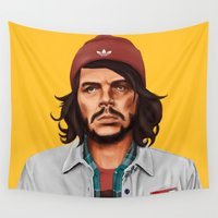 che Wall Tapestries featuring Hipstory - che guevara by Amit Shimoni