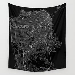San Francisco Black Map Wall Tapestry
