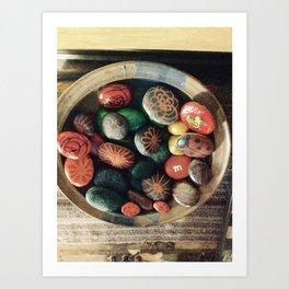 Rock art in ceramic bowl Art Print