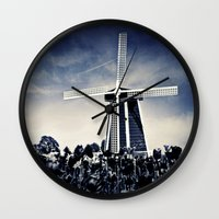 regina mills Wall Clocks featuring The Mills by Vibrancyphotos