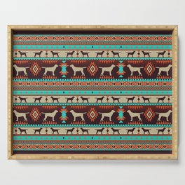 Boho dogs | Labrador retriever sunset Serving Tray