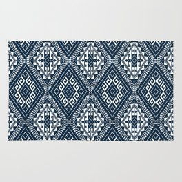 Ethnic Mosaic Pattern Navy and White Rug