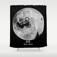 gta Shower Curtains featuring GTA Bike Glitch by JOlorful