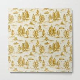 Yellow/Gold Alien Abduction Toile De Jouy Pattern Metal Print
