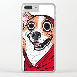 Corgi Red Hoodie Clear iPhone Case