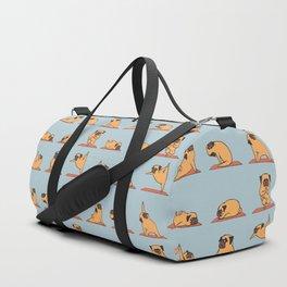 Pug Yoga In Blue Duffle Bag