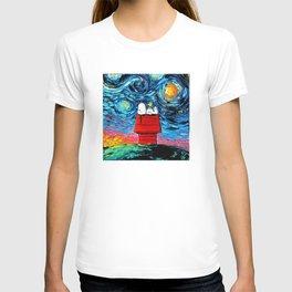 snoopy peanuts starry night T-shirt