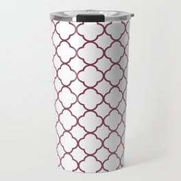 Purple, Mulberry: Quatrefoil Clover Pattern Travel Mug