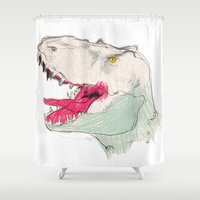 jurassic park Shower Curtains featuring JURASSIC PARK by Gianluca Floris