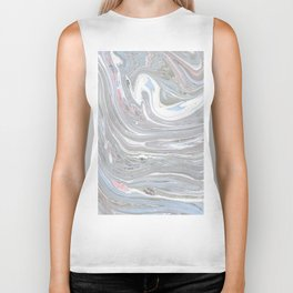 Abstract pink blue gray watercolor marble pattern Biker Tank