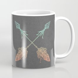 Tribal Arrows Turquoise Coral Gradient on Gray Coffee Mug