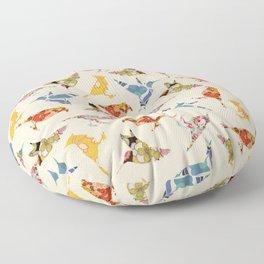 Vintage Wallpaper Birds Floor Pillow